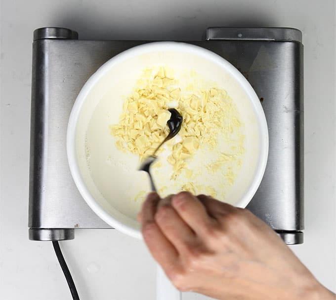 Making white hot chocolate