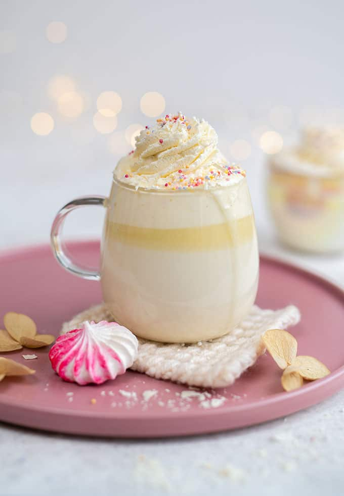White hot chocolate topped with whipped cream