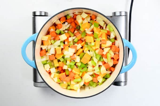 Cooking vegetables for chicken soup