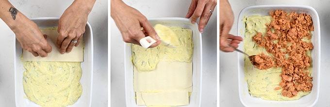 Making salmon lasagna