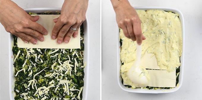 making seafood lasagna