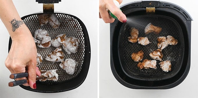 Making air fried chicken in a Philips air fryer