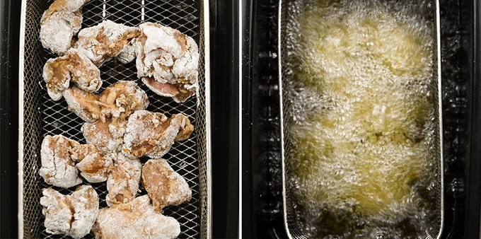 Frying chicken in a fryer collage