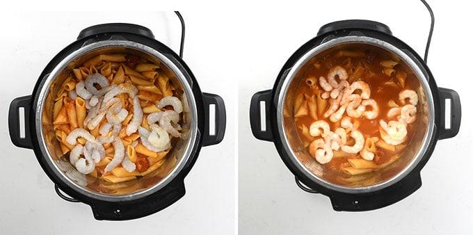 Adding shrimp into Instant Pot for spicy prawn pasta collage