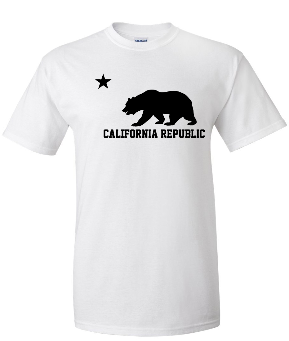 california republic bear logo graphic t shirt supergraphictees. Black Bedroom Furniture Sets. Home Design Ideas