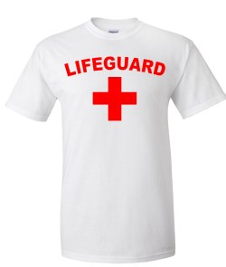 life guard logo white t shirt