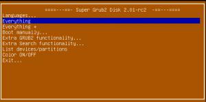 Super Grub2 Disk 2.01 rc2 Main Menu