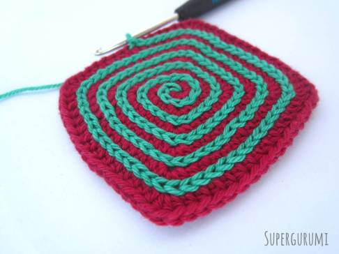Square Crochet Coaster Slip Stitch Spiral Step 11