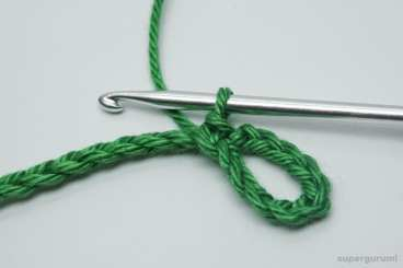 Crochet Leaf Cable Tie Step 3