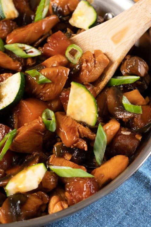skillet of homemade chicken teriyaki with veggies
