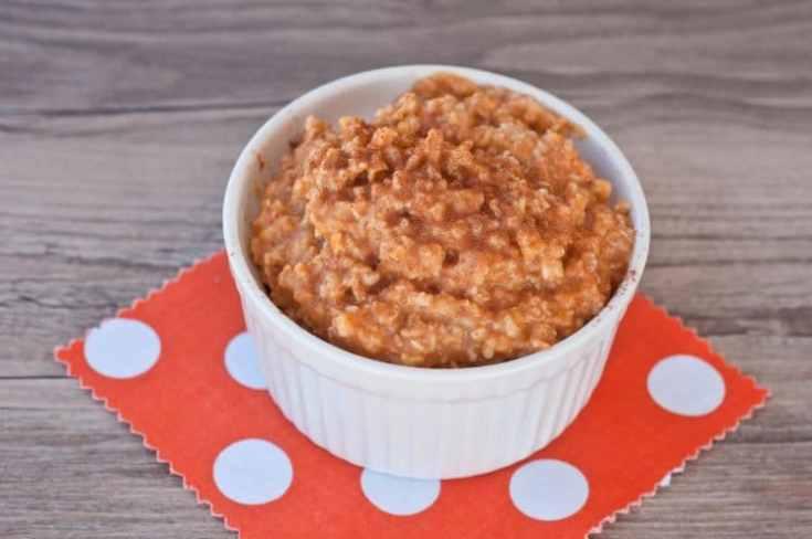 bowl of pumpkin oatmeal on a red napkin
