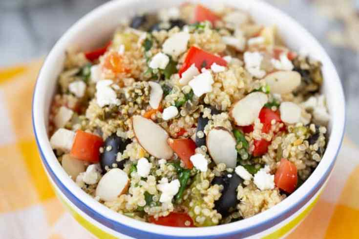 quinoa with veggies and almonds cooked right in