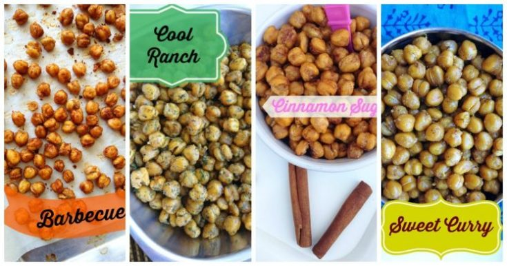 roasted chickpeas in four flavors