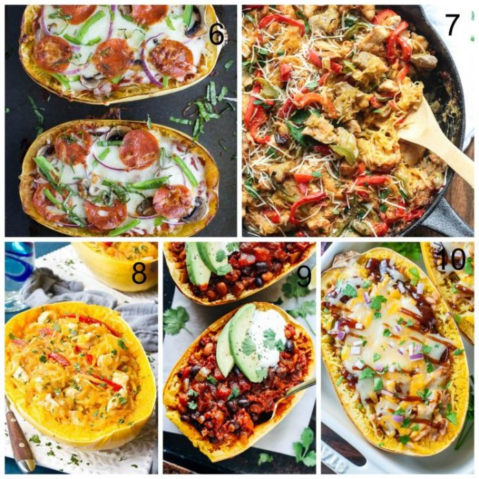 21 Best Spaghetti Squash Recipes. Five different recipes collage.