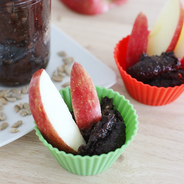 dipping cups of fruit and chocolate sunbutter