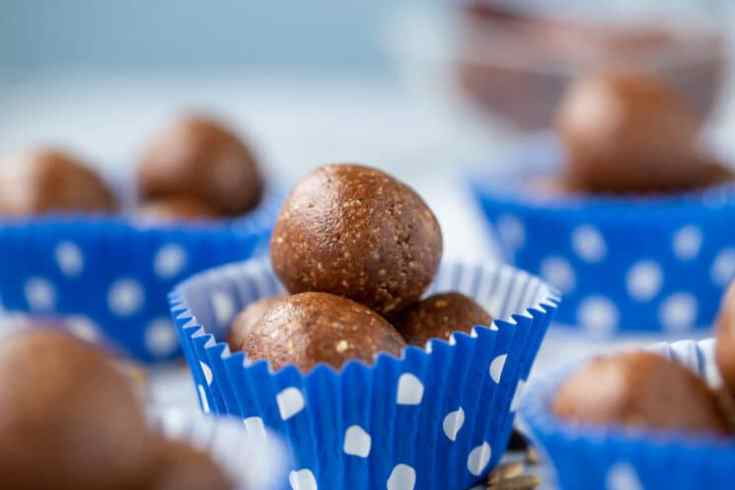 close up protein fudge energy ball