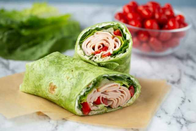 healthy lunch wrap with turkey and vegetables