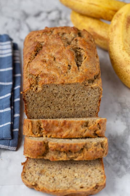 healthy banana bread made with whole wheat flour
