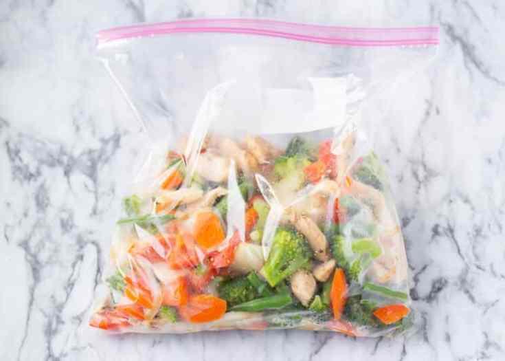 zipblock bag full of freezer meal stir fry