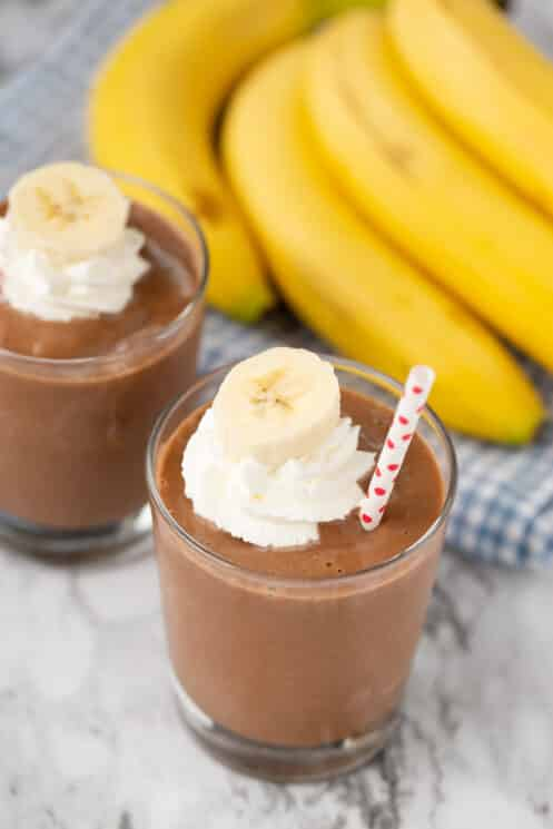 chocolate banana smoothie with whipped cream
