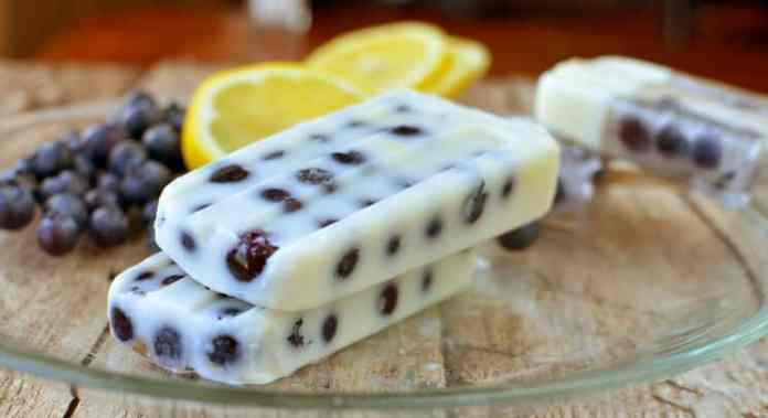 Blueberry Lemon Pudding pops on a plate with blueberries and lemons