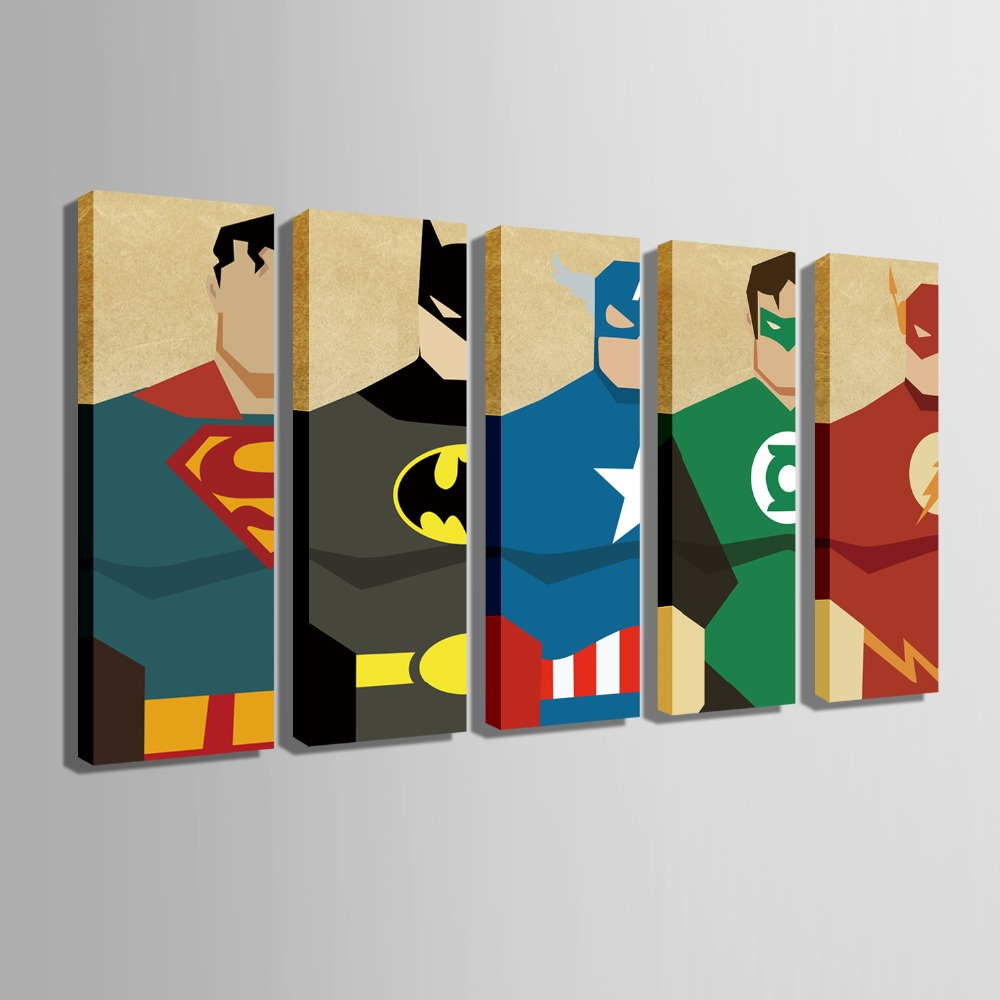 Free shipping e home stretched canvas art super hero for E home products