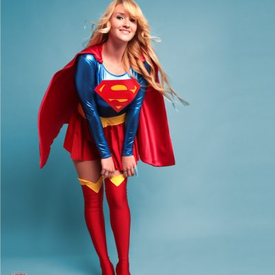 holly brooke in her supergirl cosplay costume