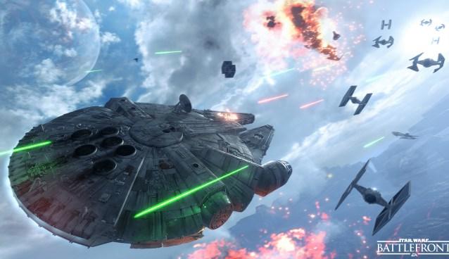 Star Wars Battlefront Millenium Falcon in Combat