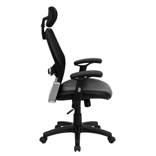 High Back Super Mesh Office Chair with Black Italian Leather Seat and Knee Tilt Control_side