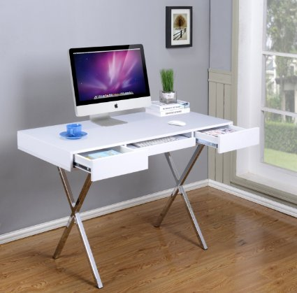 Kings Brand Contemporary Style White With Chrome Finish Legs Home & Office Desk