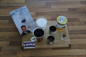 Zutaten für Rezept aus meinem Kochbuch: Schokolade-Blaubeeren Smoothie