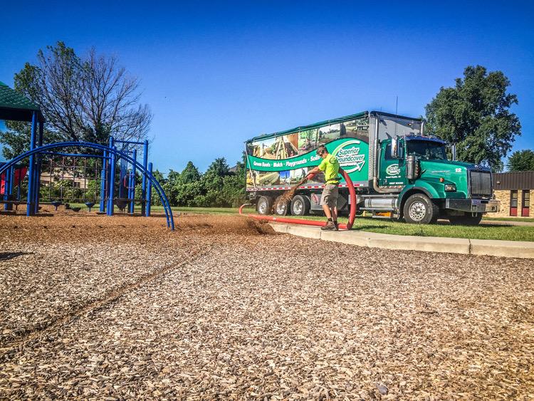 playground bark and mulch installation