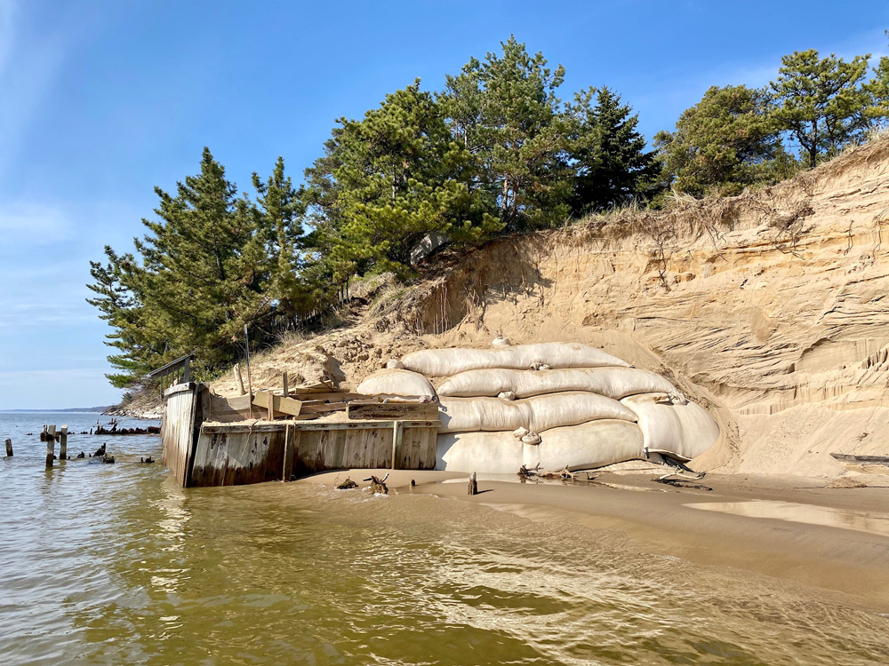 Sand Tubes for Erosion Control installed on Lake Michigan bluff