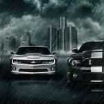Three Wonderful Cars In The Rain Creative Wallpaper