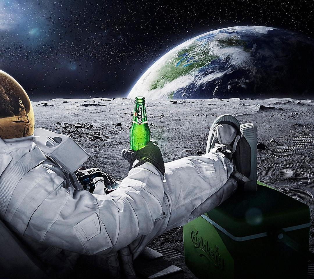 Drinking Beer On The Moon Wallpaper Download 1080x960