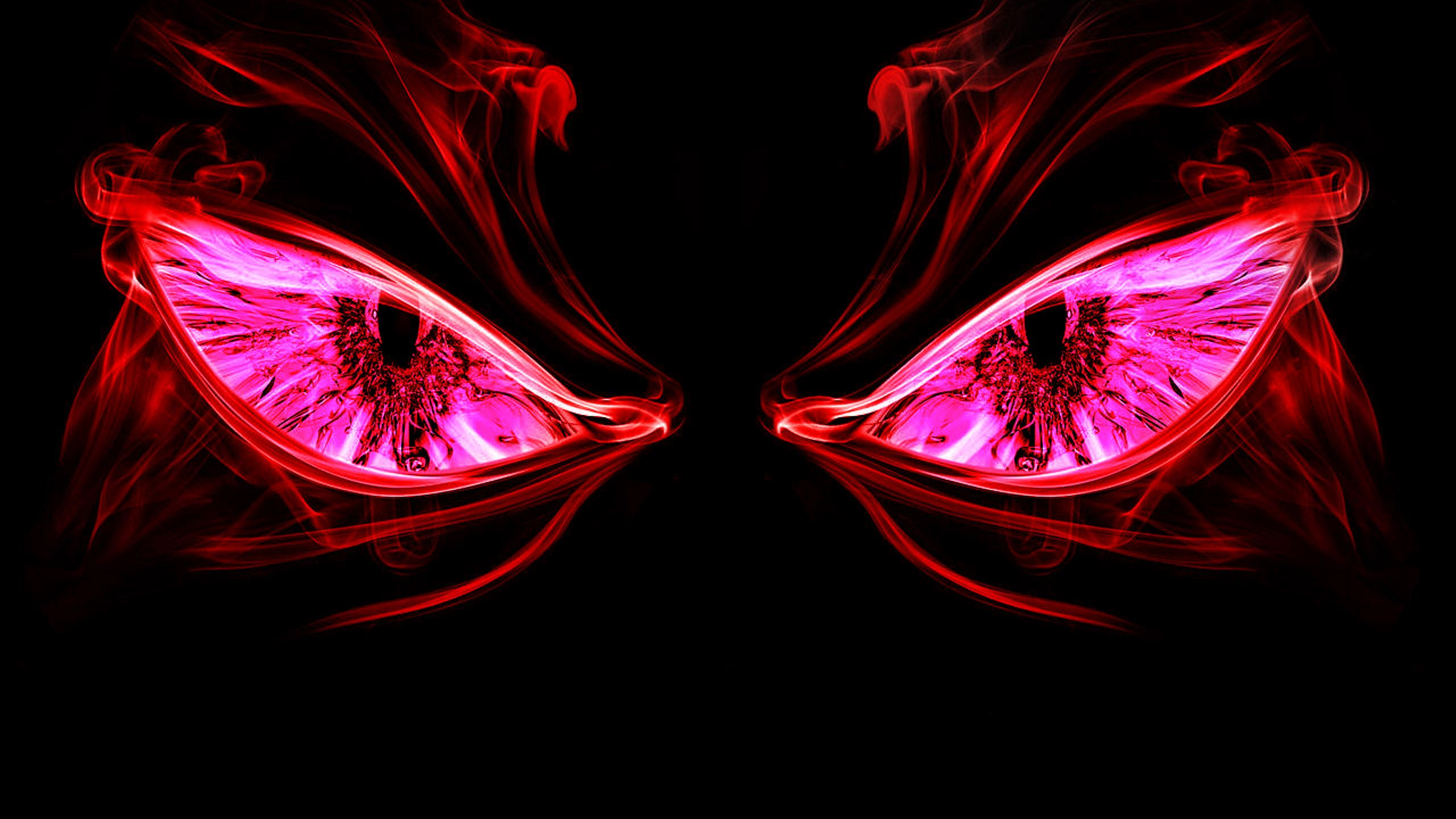 Two Scary Red Eyes In The Night Wallpaper Download 2560x1440
