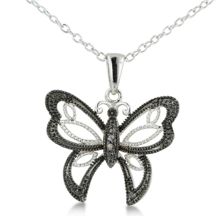 Black Diamond Butterfly Necklace