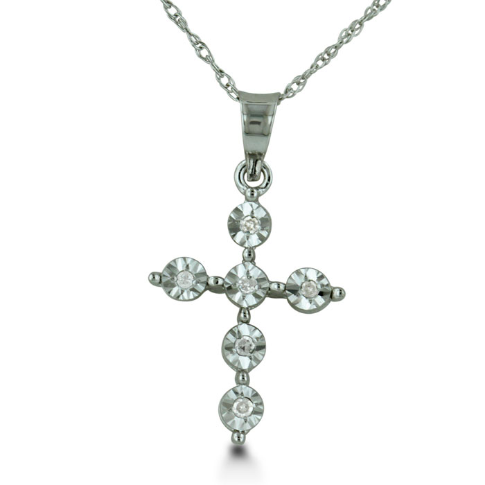 Sizzling Fire Diamond Cross Necklace in Solid White Gold, 18 Inch Chain