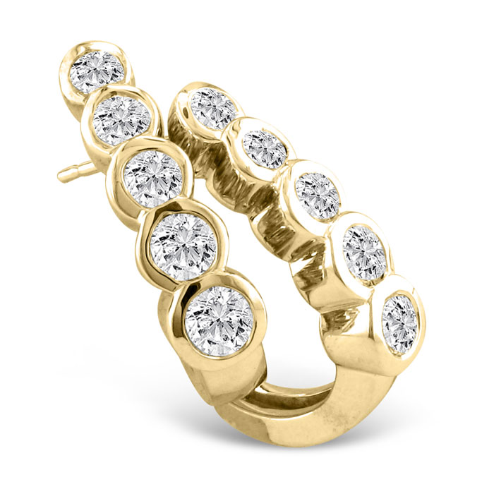 3/4ct Bezel Set Journey Diamond Hoop Earrings in 14k Yellow Gold