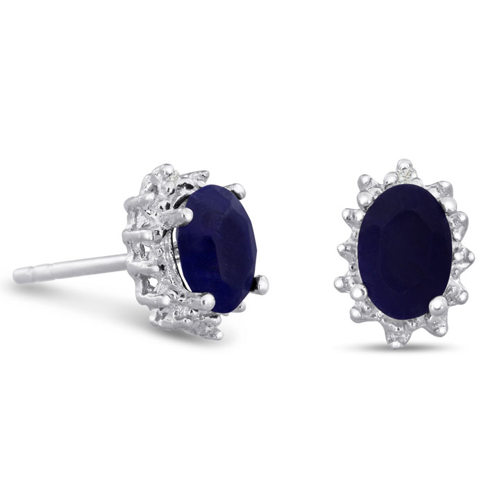 1ct Sapphire and Diamond Earrings