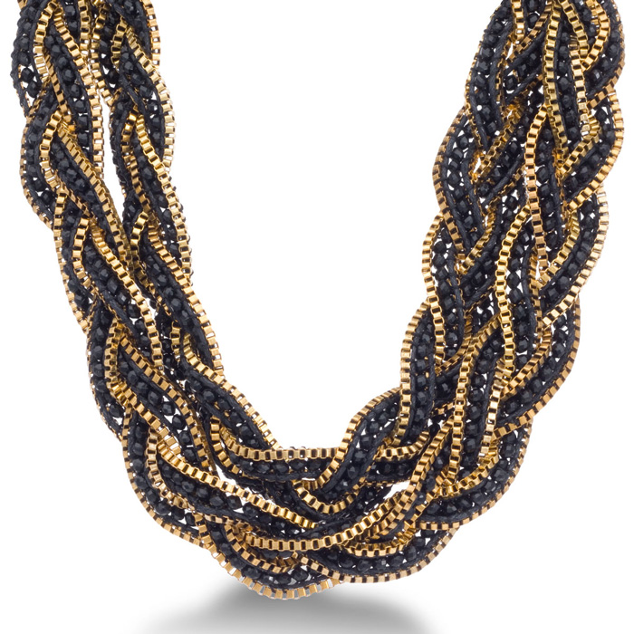 Braided Black Crystal Necklace with Gold Tone Box Chain Border and Button Closure, 32 Inches Long