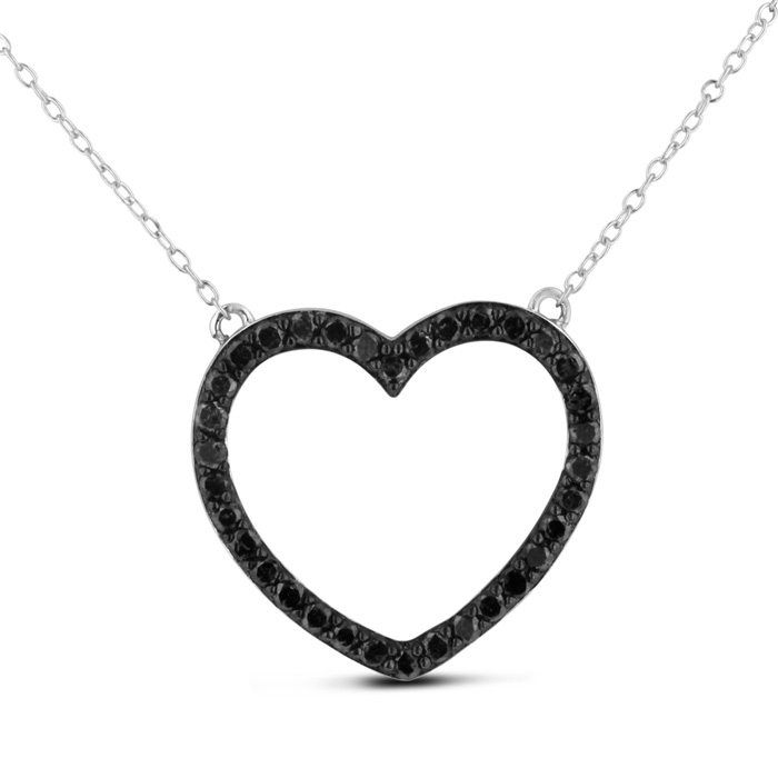 1ct Black Diamond Heart Necklace