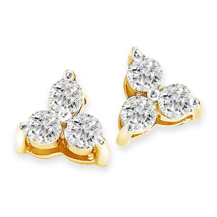 1/4ct Three Diamond Triangle Style Earrings In 14k Yellow Gold