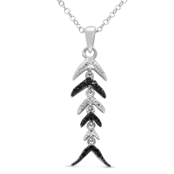 Black and White Diamond Fish Scale Necklace Crafted In Solid Sterling Silver, 18 Inches