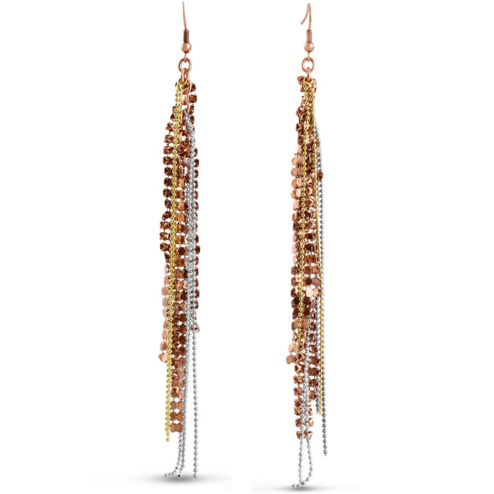 Mixed Metal Fringe Dangle Earrings, 5 Inches
