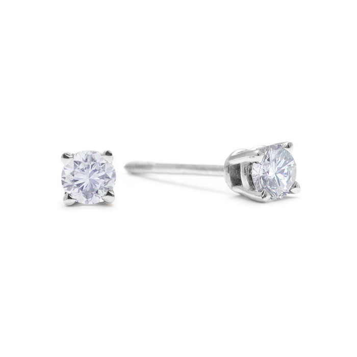 1/10ct Diamond Stud Earrings in 14k White Gold with screw back post