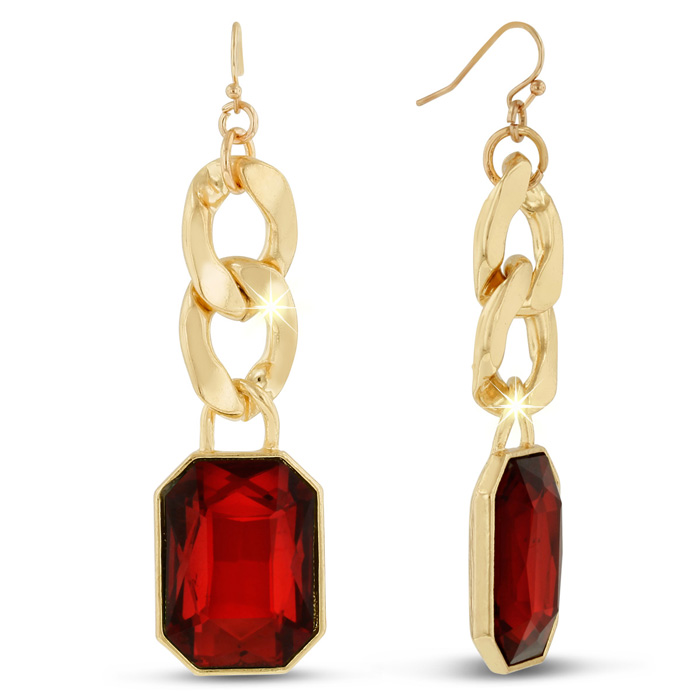 Red Glass and Gold Chain Dangle Earrings