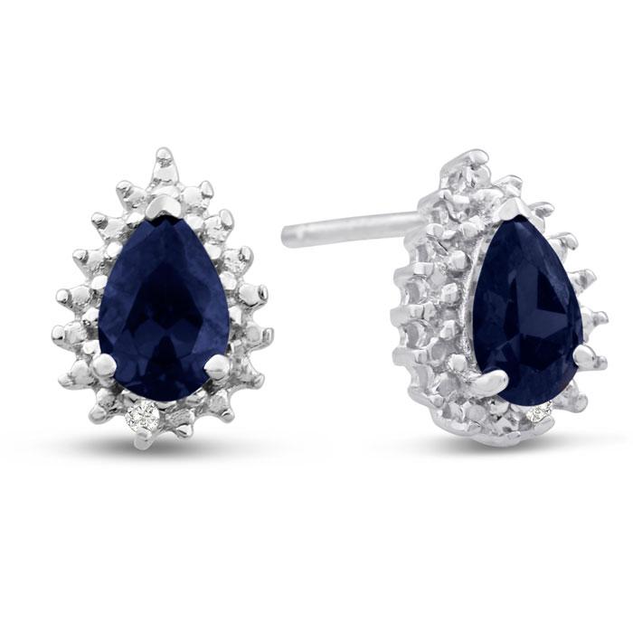 1 Carat Pear Shape Sapphire and Diamond Halo Stud Earrings In Sterling Silver