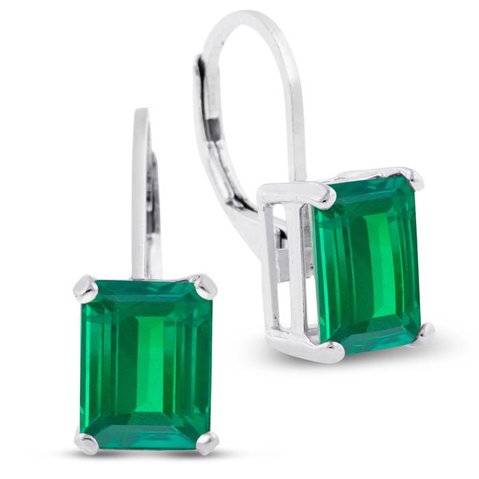 4 1/2 Carat Emerald Cut Created Emerald Drop Earrings