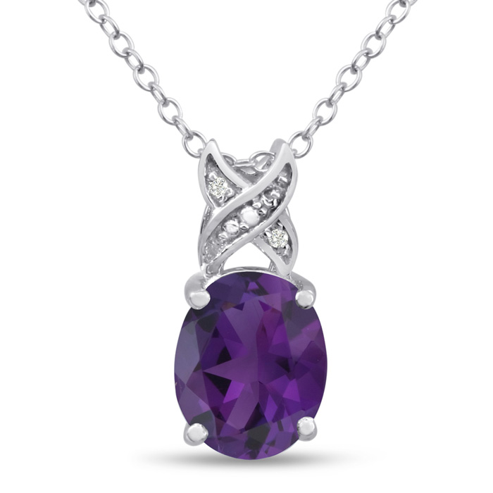 3.50ct Oval Amethyst and Diamond Necklace
